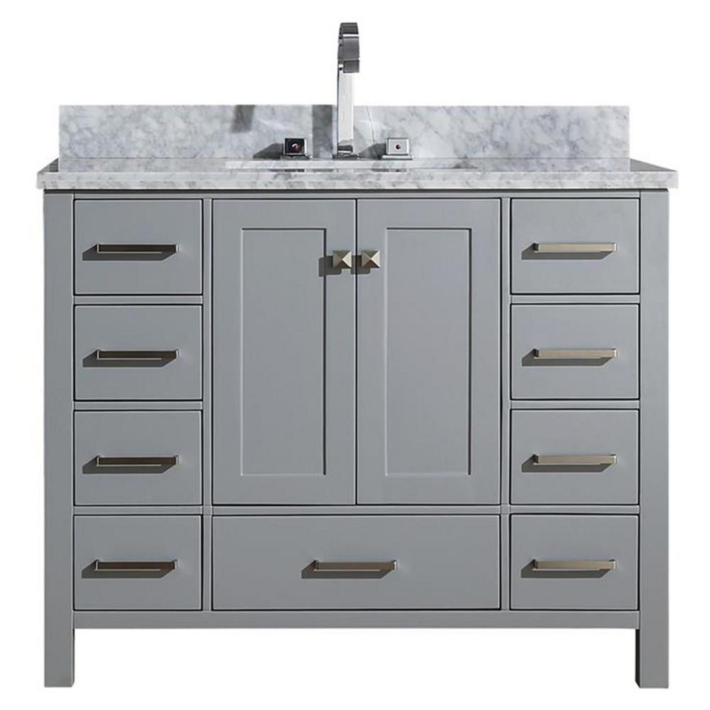 Ariel Cambridge 43 in. Bath Vanity in Grey with Marble Vanity Top in Grey with White Basin