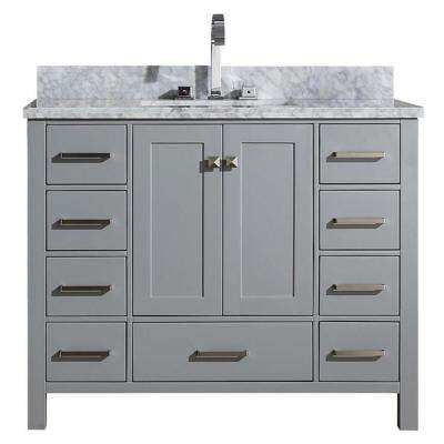 Cambridge 43 in. Bath Vanity in Grey with Marble Vanity Top in Grey with White Basin