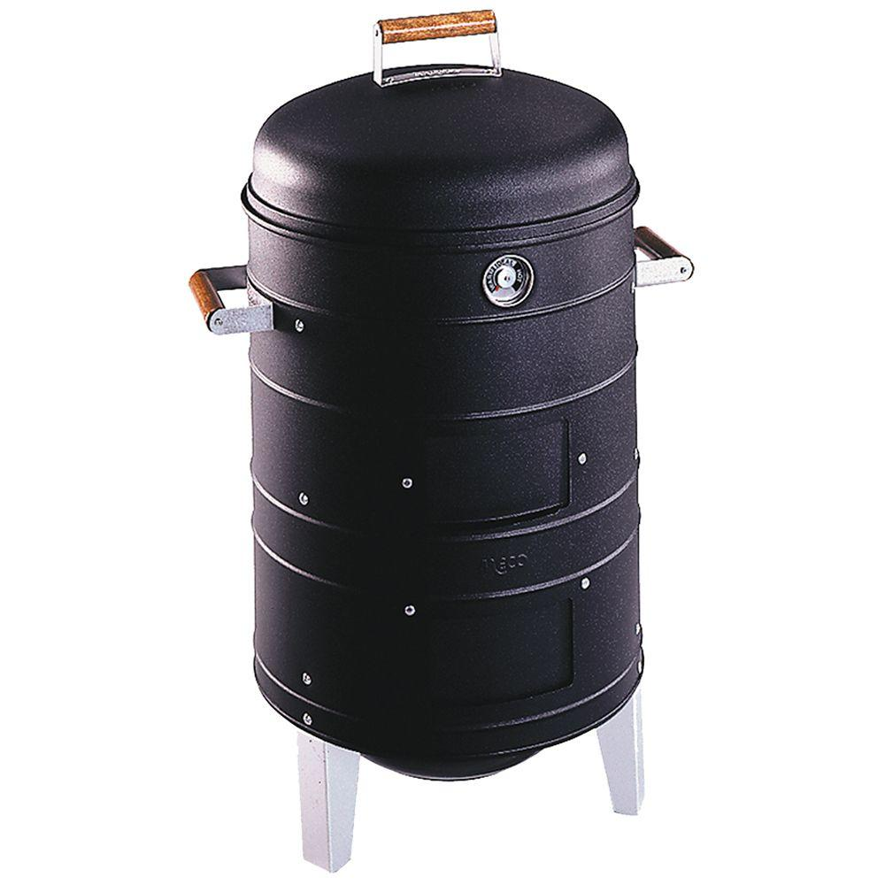 Double Grid Charcoal Water Smoker in Black