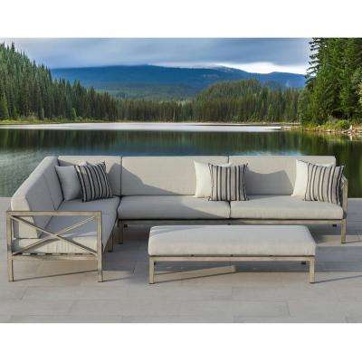 Pasadena 3-Piece Gray Aluminum Outdoor Sectional Set with Olefin Gray Cushions