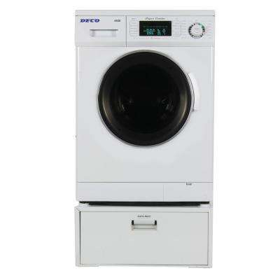 All-in-one 1.6 cu. ft. Compact Combo Washer Dryer with Optional Vented/ Ventless and Sensor Dry with Pedestal in White