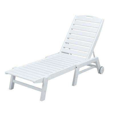 Nautical White Wheeled Armless Plastic Outdoor Patio Chaise Lounge