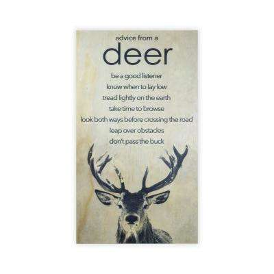 28 in. x 15.75 in. ANIMAL ADVICE- DEER by Twelve Timbers, INC. Wooden Wall Art