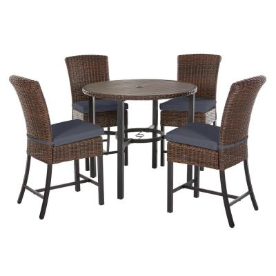 Harper Creek 5-Piece Brown Steel Outdoor Patio Bar Height Dining Set with CushionGuard Sky Blue Cushions