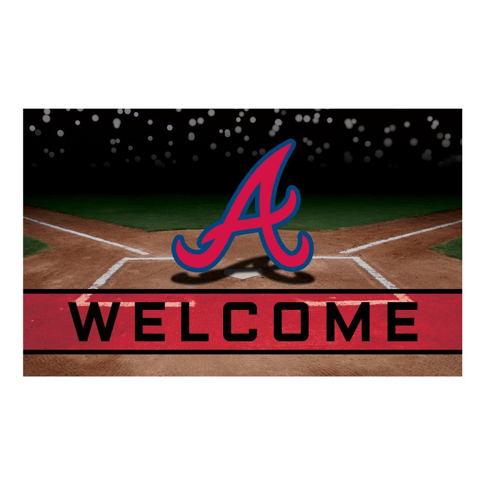 FANMATS MLB   Atlanta Braves 18 In. X 30 In. Rubber Door Mat