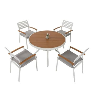 5-Piece Aluminum Polywood Outdoor Dining Set with Creamy White Cushions