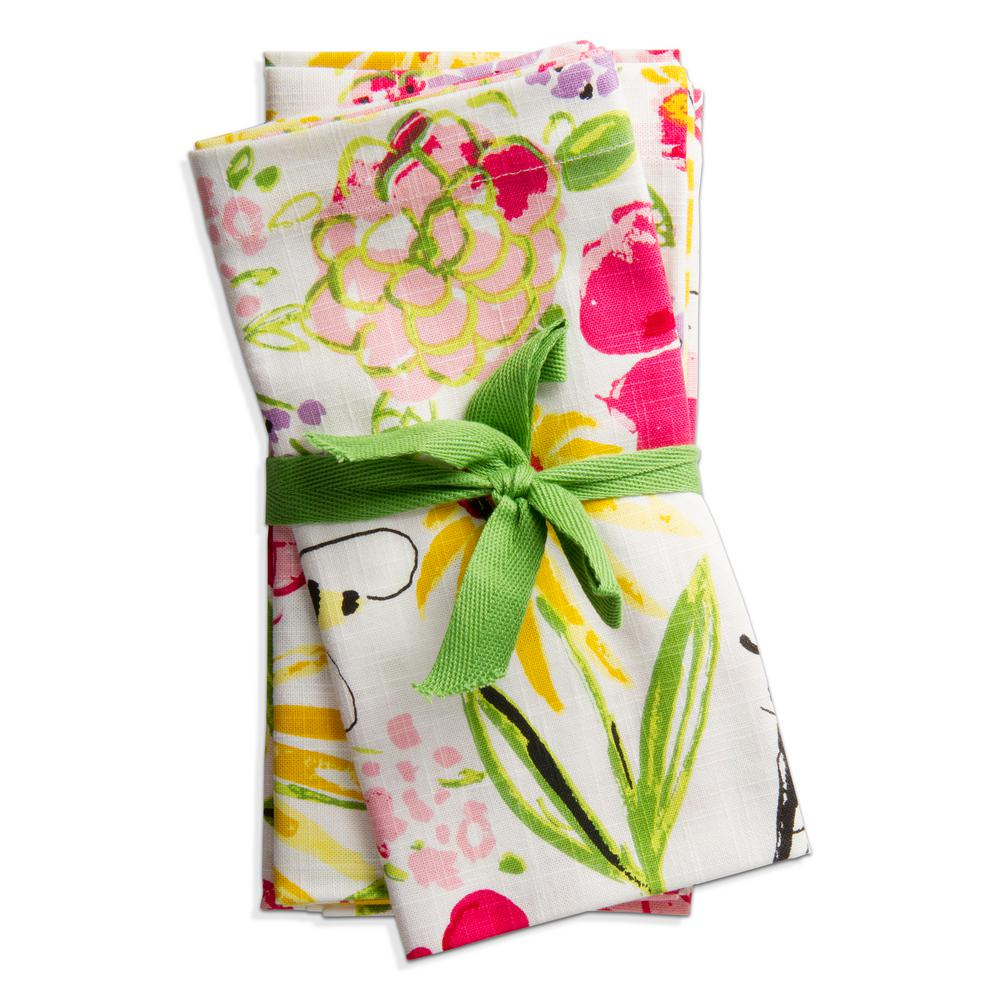 Fresh Flowers Garden 20 in. x 20 in. Multicolor Cotton Napkins