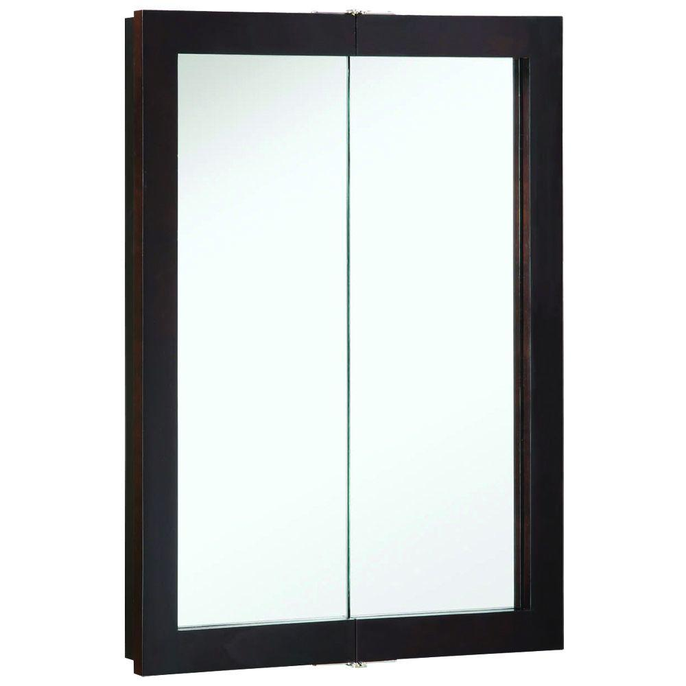 Design House Ventura 24 in. W x 30 in. H x 6 in. D Framed Surface-Mount Bi-View Bathroom Medicine Cabinet in Espresso