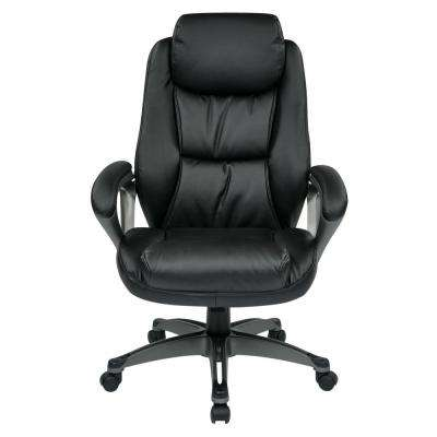 Executive Black Bonded Leather Chair with Padded Arms, Headrest and Coated Base