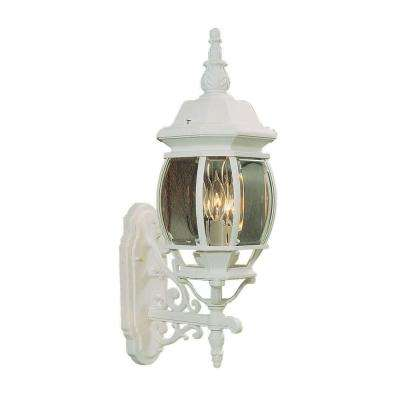 Providence 3-Light White Incandescent Outdoor Wall-Mount Lantern Sconce
