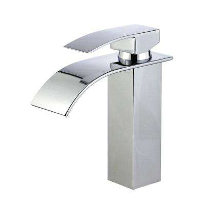 Santiago Single Hole Single-Handle Bathroom Faucet with Overflow Drain in Polished Chrome