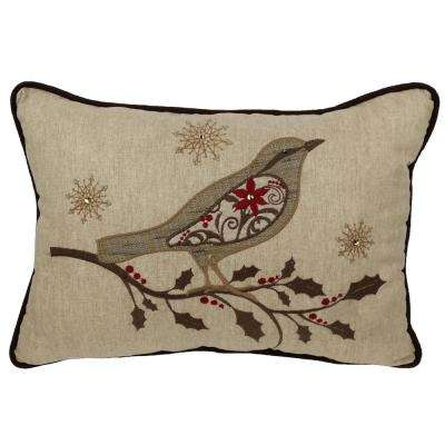 13 in. x 18 in. Bird On Twig Embroidery Pillow With Polyester Filled