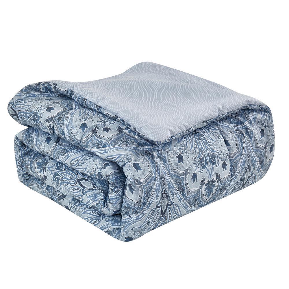 Louis 8-Piece Blue Queen Bed in a Bag Set