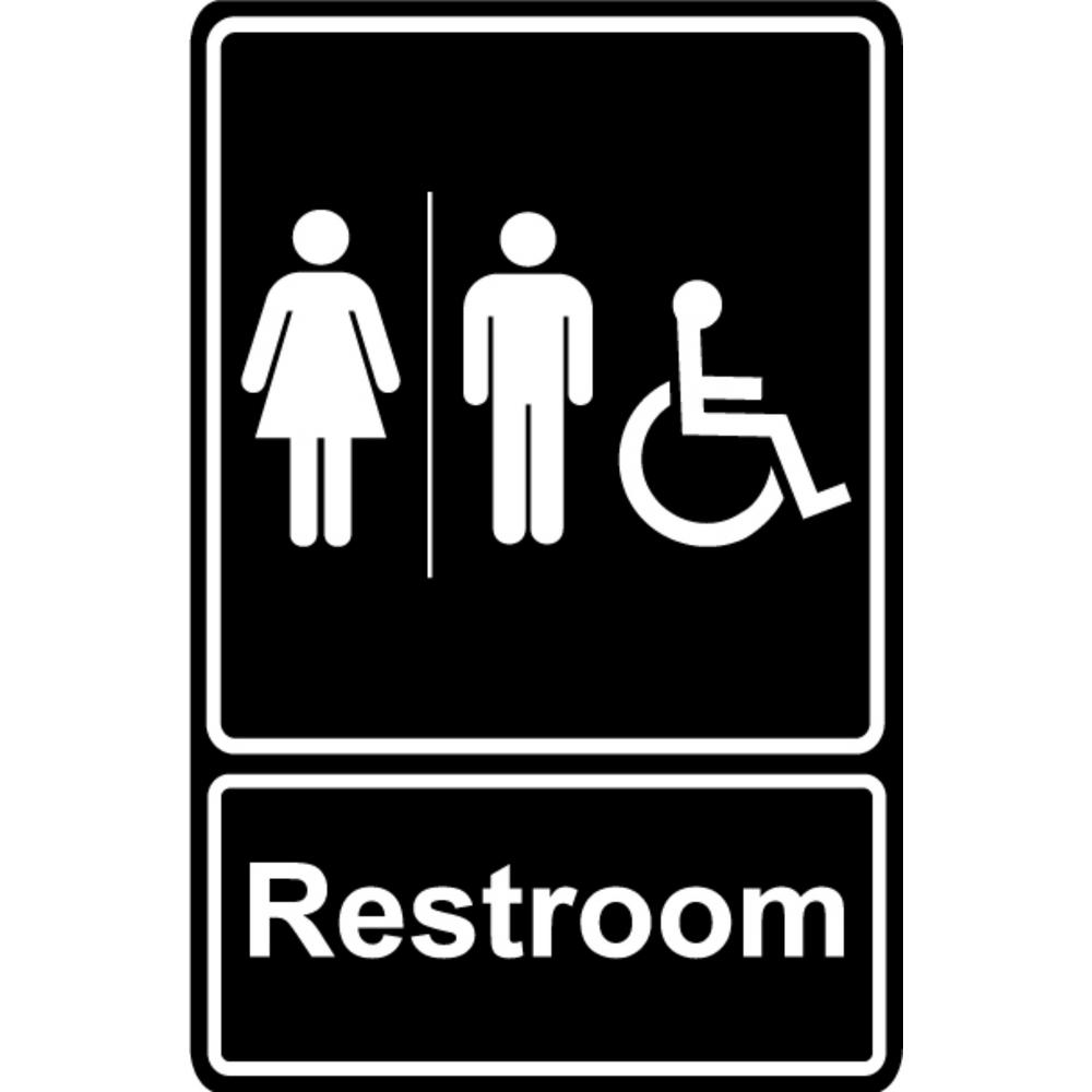 Promodor 5.5 in. x 8 in. Unisex Men and Women Restroom Bathroom With ADA Complaint Handicap Symbol Black Plastic Sign