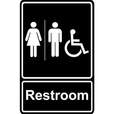 5.5 in. x 6.5 in. Plastic Men Women Wheelchair Black Restroom Sign