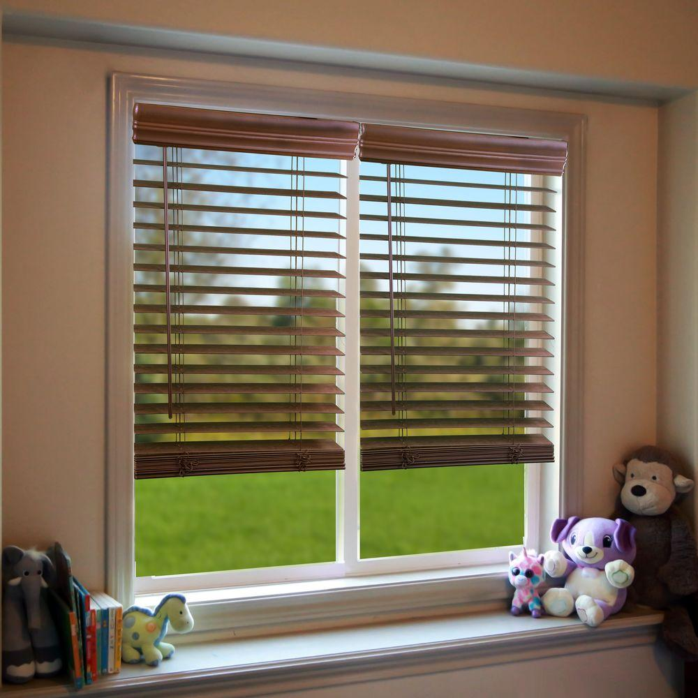 Perfect Lift Window Treatment Dark Oak 2 in. Cordless Faux Wood Blind - 27 in. W x 72 in. L