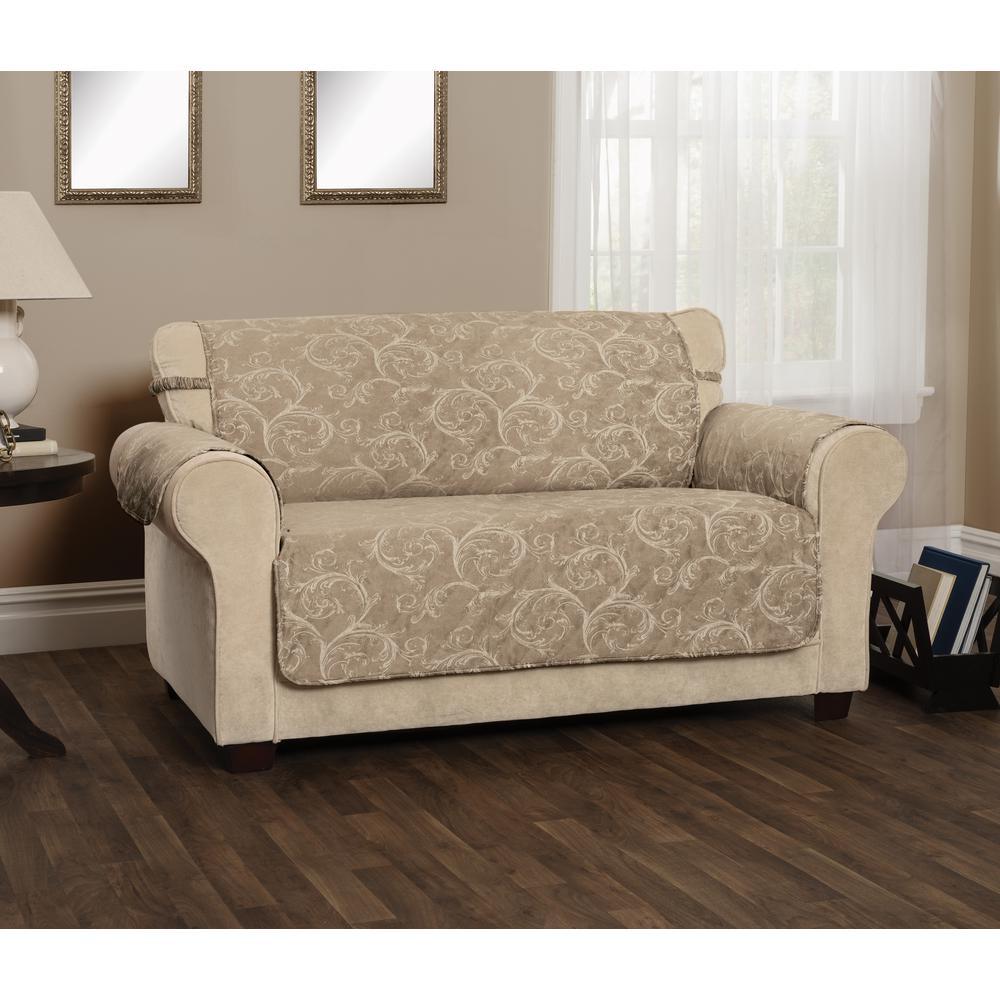 Lemont Taupe Scroll Jacquard Sofa Furniture Cover Slipcover