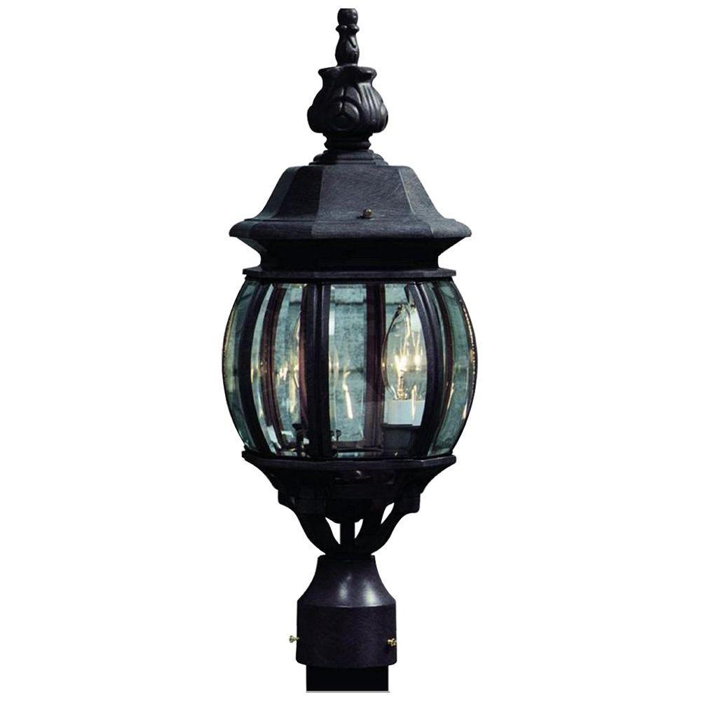 Sergej 3-Light Outdoor Black Post Light