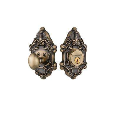Victorian Plate 2-3/8 in. Backset Single Cylinder Deadbolt in Antique Brass