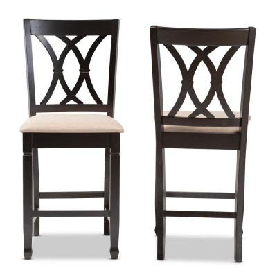 Reneau 43 in. Sand Brown and Espresso Bar Stool (Set of 2)