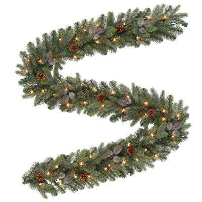9 ft. Pre-Lit Artificial Greenland Christmas Garland with 217 Tips and 50 Clear Lights