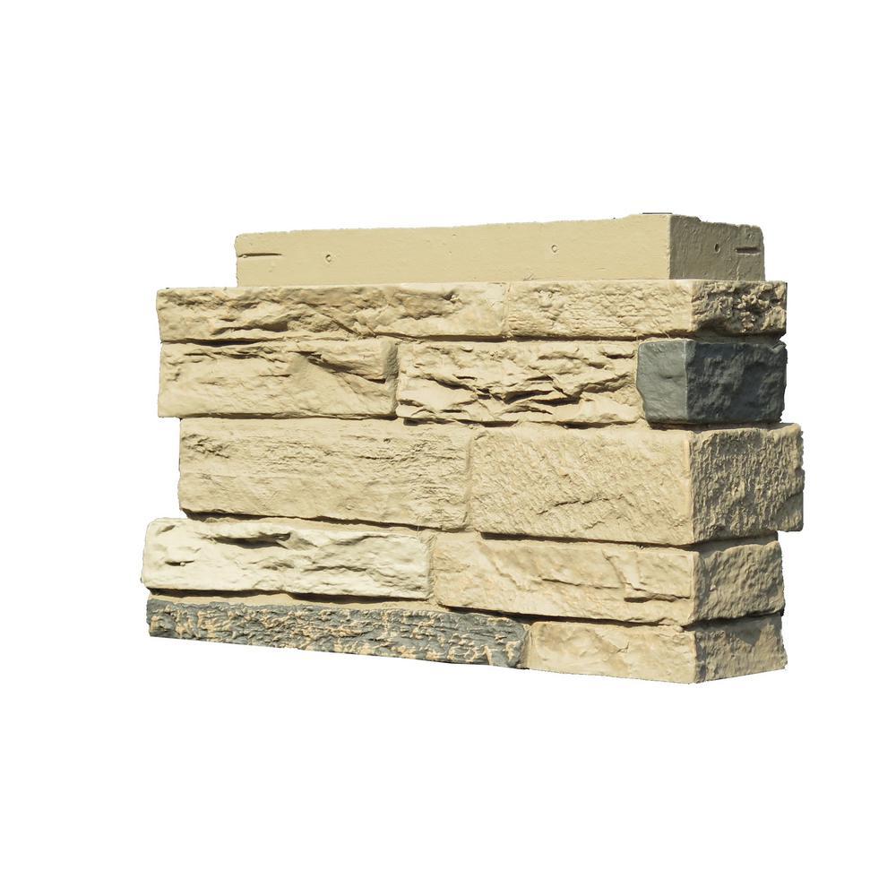 Slatestone 4.5 in. x 12.75 in. Faux Stone Siding Corner in Sahara (4-Pack)