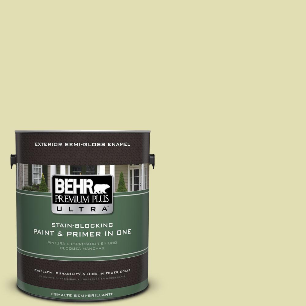 1-gal. #M340-3 Pale Green Grape Semi-Gloss Enamel Exterior Paint