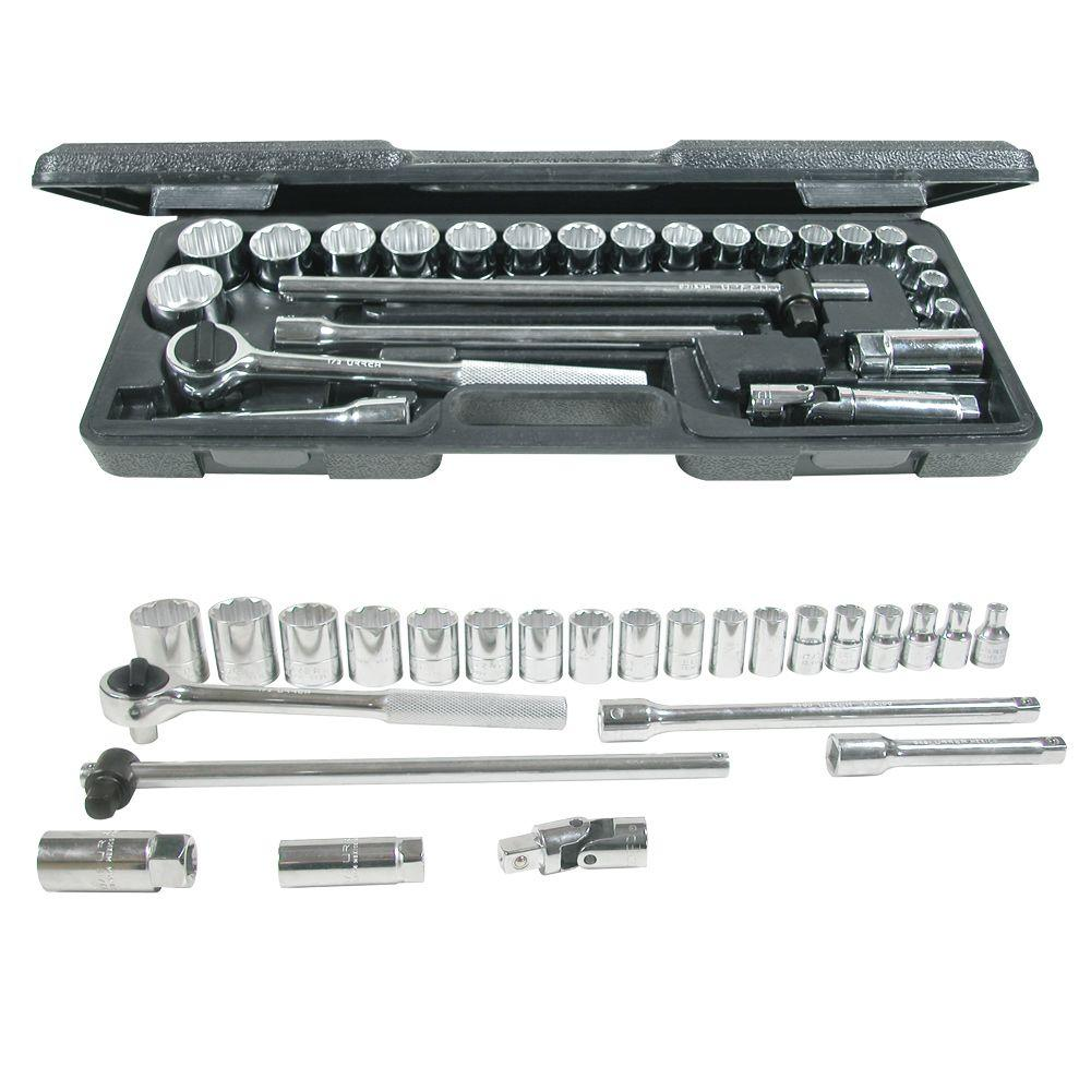 URREA 1/2 in. Drive Blow Molded 12-Point Hand Socket & Accessories Set (25-Piece)
