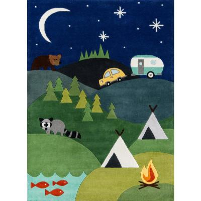 Lil Mo Whimsy Camping Fun Blue 8 ft. x 10 ft. Indoor Kids Area Rug