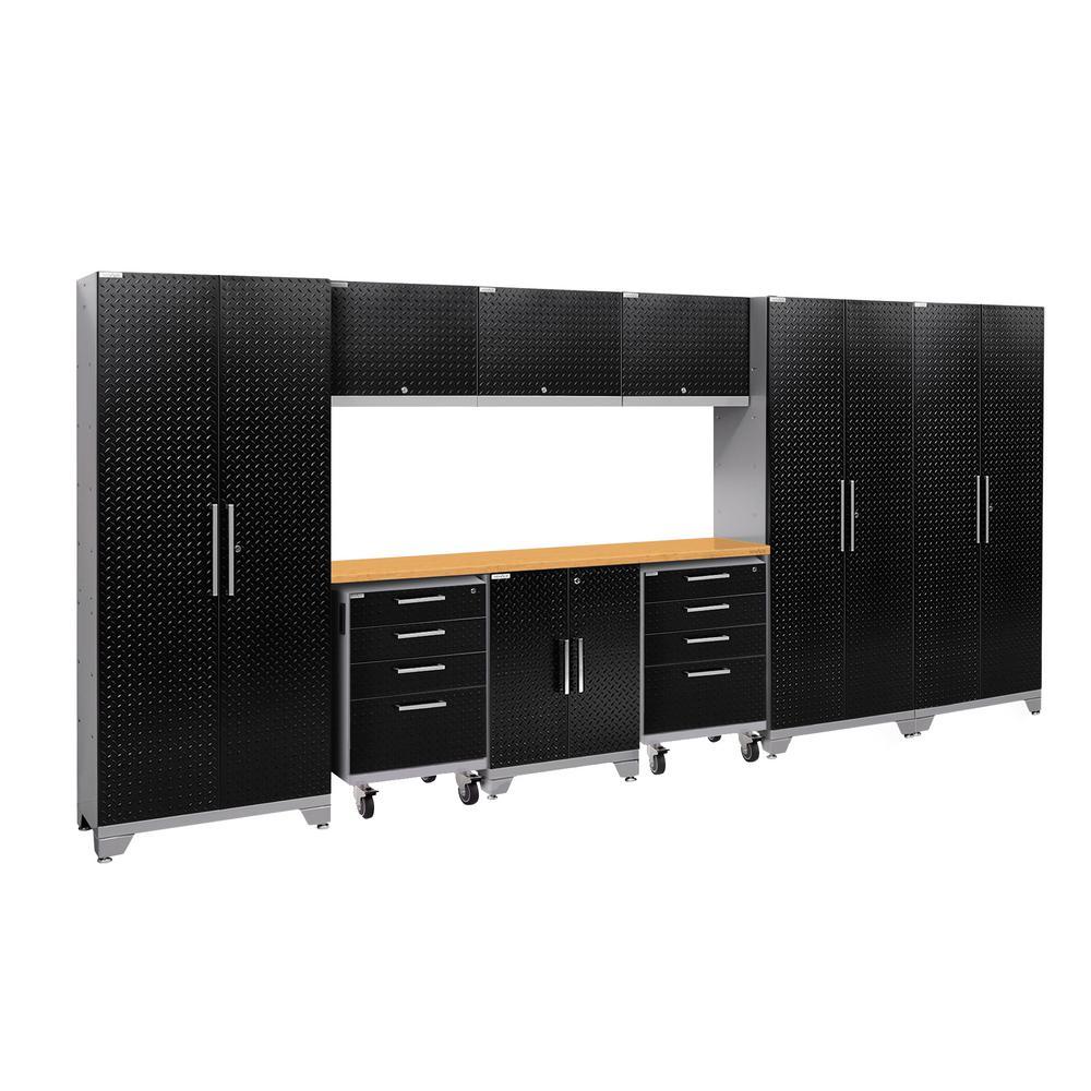 Performance 2.0 Diamond Plate 77.25 in. H x 162 in. W x 18 in. D Steel Garage Cabinet Set in Black (10-Piece)