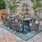 Nadia Grey 9-Piece Wood and Wicker Outdoor Dining Set with Silver Cushions