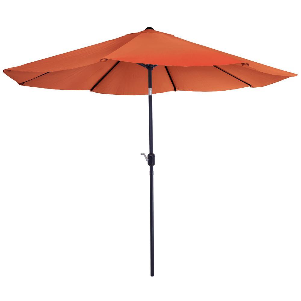 10 ft. Aluminum Patio Umbrella with Auto Tilt in Terracotta