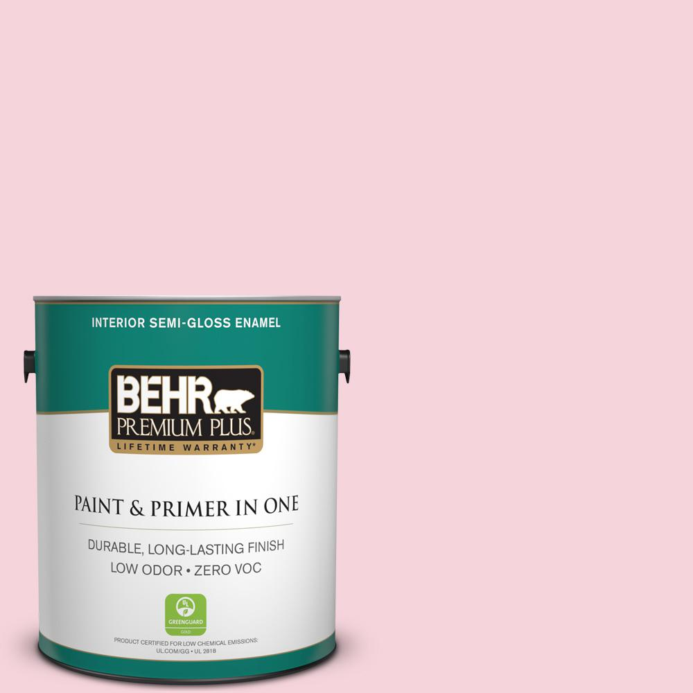 BEHR Premium Plus 1-gal. #110C-1 Petal Bloom Zero VOC Semi-Gloss Enamel Interior Paint