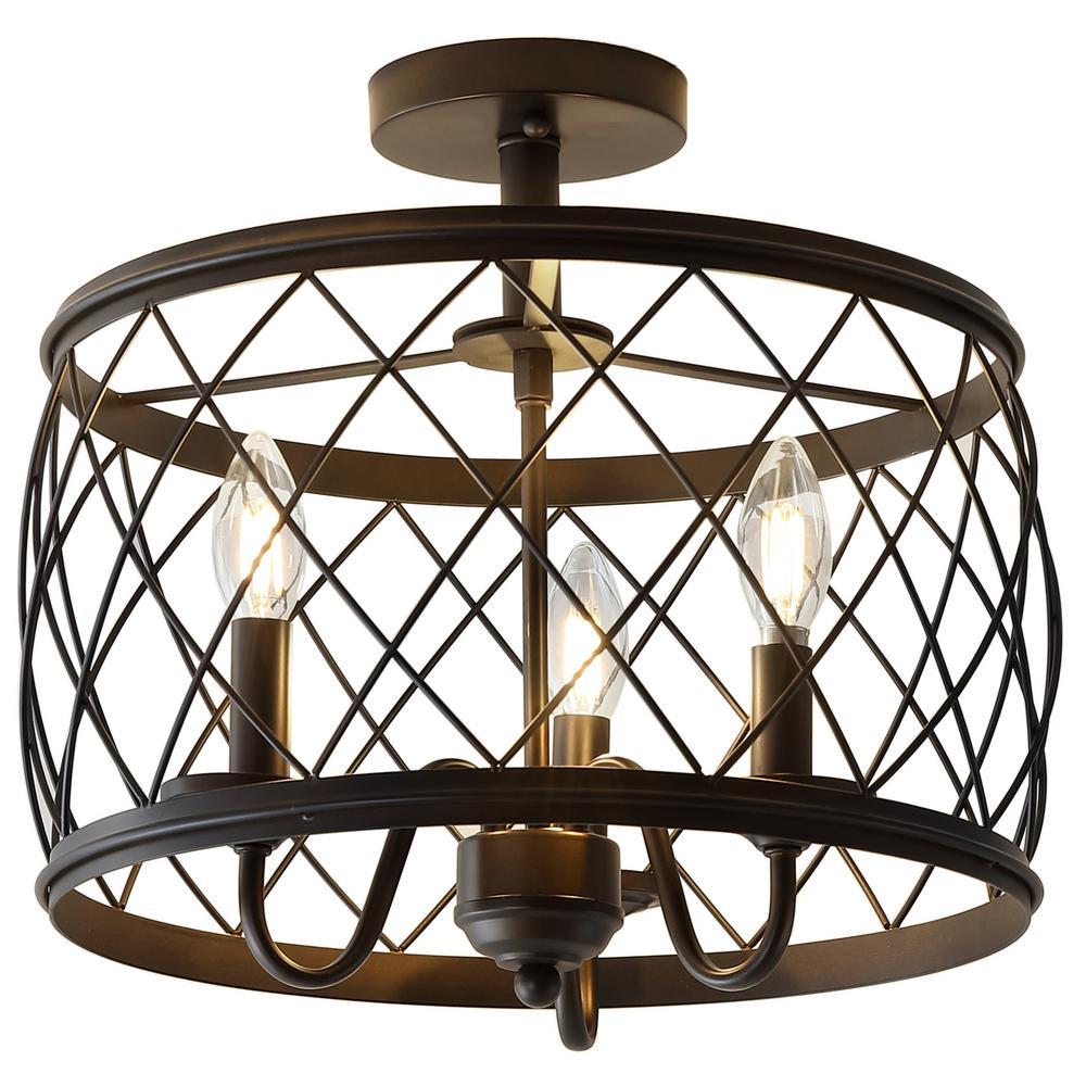 Eleanor 15 in. 3-Light Oil Rubbed Bronze Metal LED Semi Flush Mount Ceiling Light