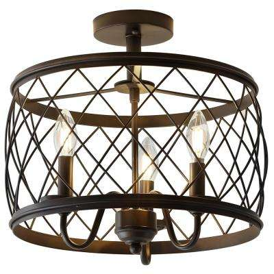 Eleanor 15 in. 3-Light Oil Rubbed Bronze Metal LED Semi Flush Mount Ceiling Light