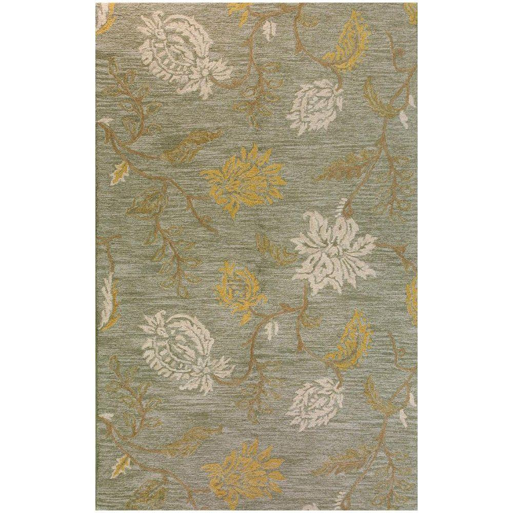 BASHIAN Valencia Collection Subtlety Light Green 2 ft. 6 in. x 8 ft. Area Rug
