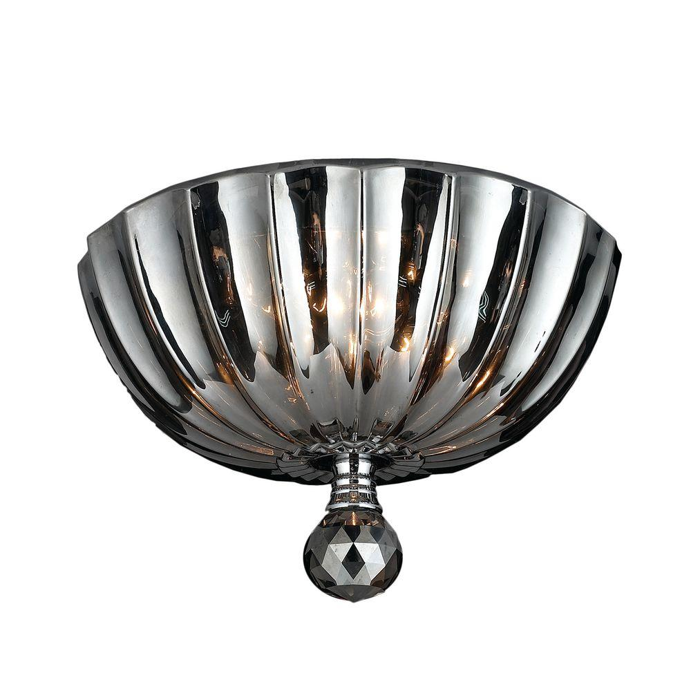 Mansfield 3-Light Chrome and Smoke Crystal Flushmount
