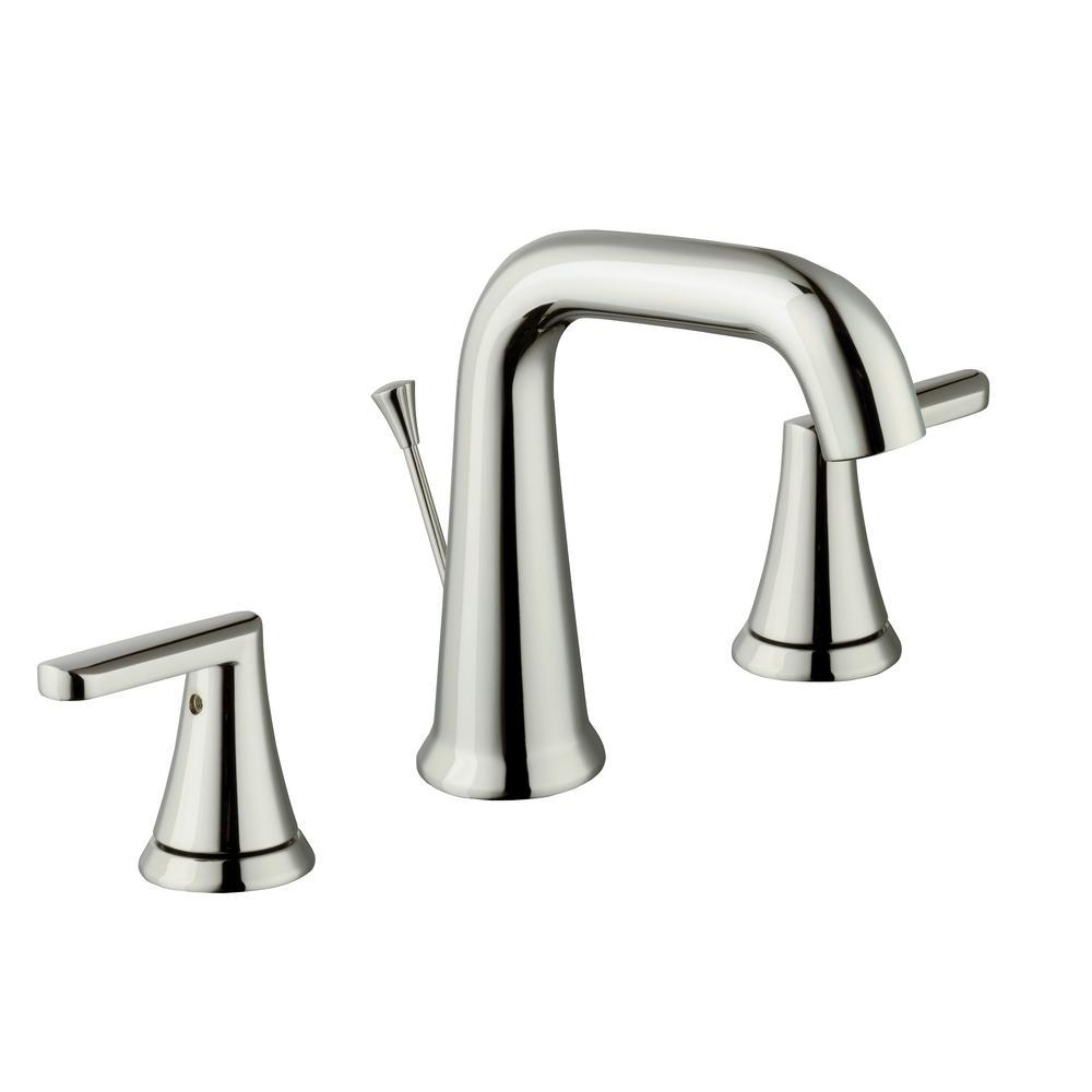 Jax 8 in. Widespread 2-Handle High-Arc Bathroom Faucet in Polished Nickel