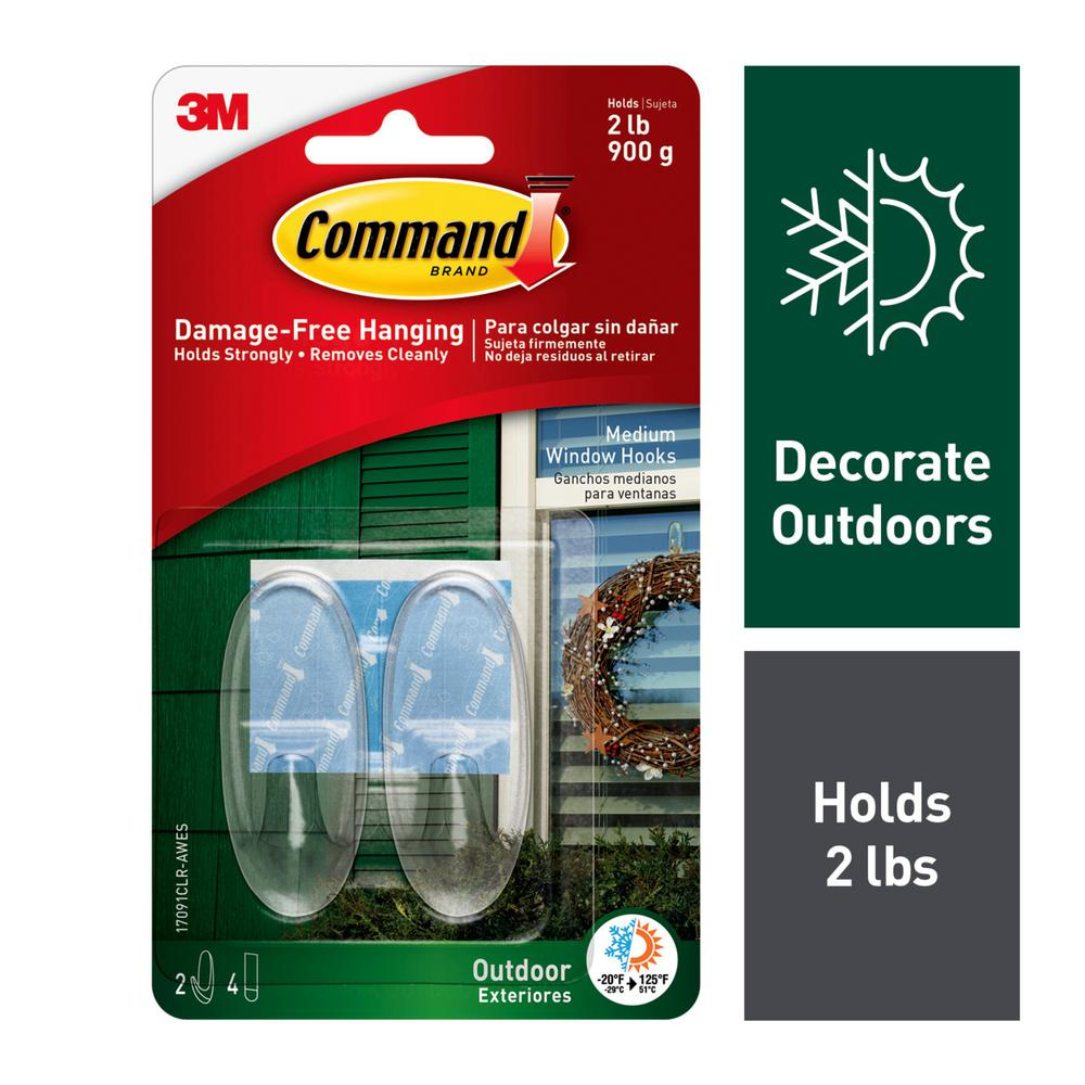 Command 2-Piece Medium Clear Outdoor Window Hooks