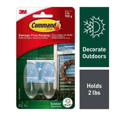 2-Piece Medium Clear Outdoor Window Hooks