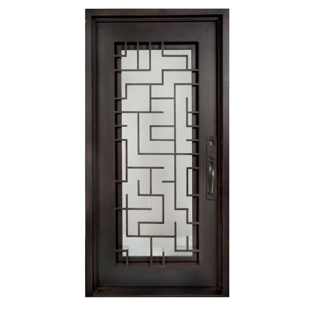 Iron Doors Unlimited 40 in. x 98 in. Bel Sol Classic Full Lite Painted Oil Rubbed Bronze Clear Wrought Iron Prehung Front Door