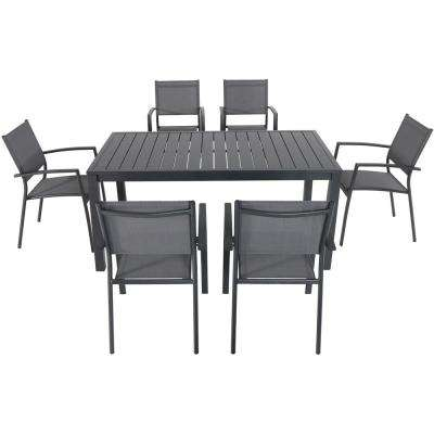 Naples 7-Piece Aluminum Outdoor Dining Set with 6 Sling Chairs and a 78 in. x 40 in. Dining Table