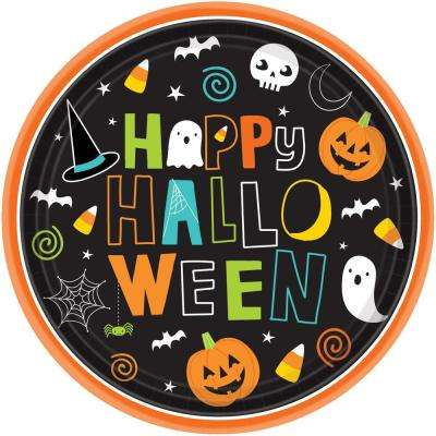 7 in. x 7 in. Paper Halloween Friends Round Plates
