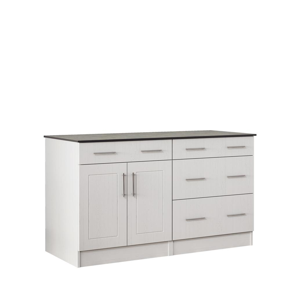 WeatherStrong Palm Beach 59.5 in. Outdoor Cabinets with Countertop 2-Door and 2-Drawer in White