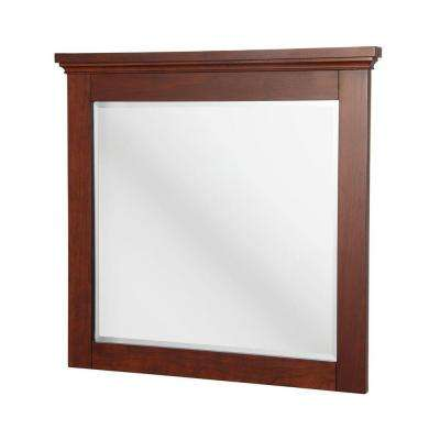 Manchester 36 in. L x 34 in. W Wall Mirror in Mahogany