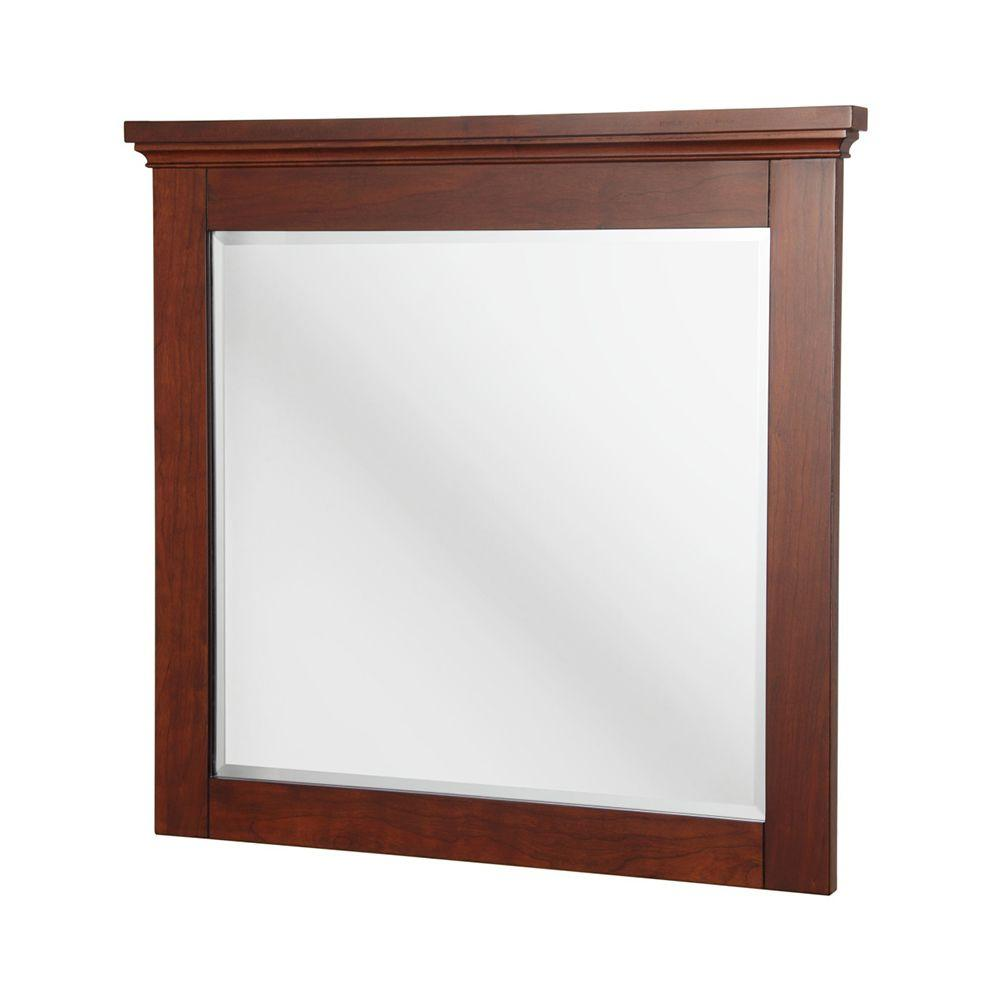 Home Decorators Collection Manchester 36 in. L x 34 in. W Wall Mirror in Mahogany