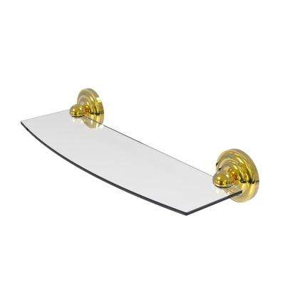 Prestige Que New 18 in. L  x 3 in. H  x 5 in. W Clear Glass Bathroom Shelf in Polished Brass