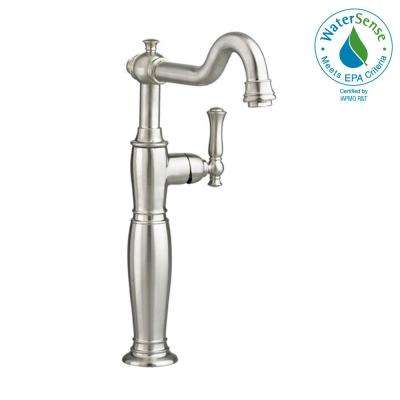 Quentin Single Hole Single-Handle Vessel Bathroom Faucet with Less Drain in Brushed Nickel