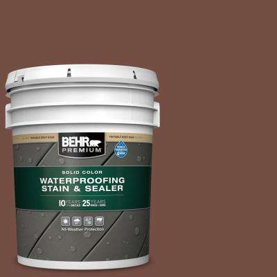 5 gal. #SC-129 Chocolate Solid Color Waterproofing Exterior Wood Stain and Sealer