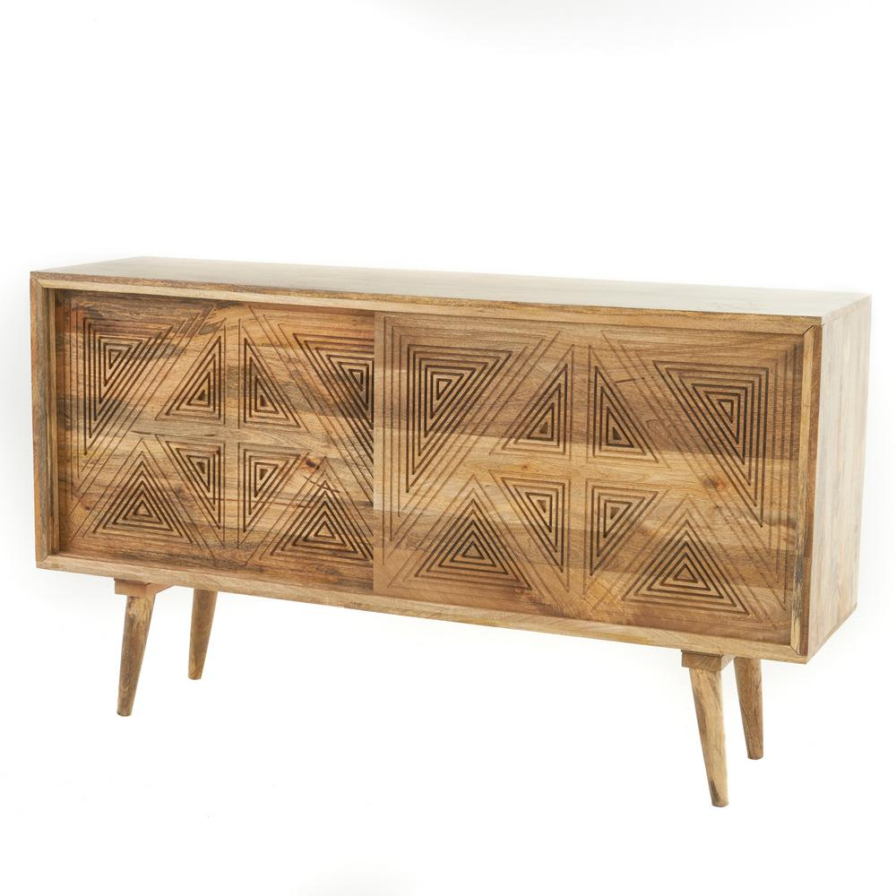 Noble House Stephani Natural Brown Mango Wood Sideboard Cabinet With